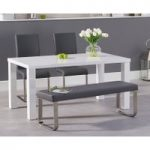 Atlanta 160cm White High Gloss Dining Table with Malaga Chairs and Atlanta Grey Bench