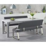 Atlanta 180cm Light Grey High Gloss Dining Table with Malaga Grey Benches