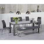 Atlanta 180cm Dark Grey High Gloss Dining Table with Cavello Chairs and Atlanta Grey Bench