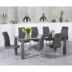 Atlanta 180cm Dark Grey High Gloss Dining Table with Calgary Chairs