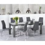 Atlanta 180cm Dark Grey High Gloss Dining Table with Cavello Chairs