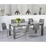 Atlanta 180cm Dark Grey High Gloss Dining Table with Helsinki Fabric Chairs