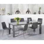 Atlanta 180cm Dark Grey High Gloss Dining Table with Helsinki Faux Leather Chairs