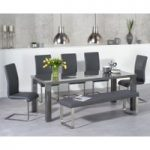 Atlanta 180cm Dark Grey High Gloss Dining Table with Malaga Chairs and Atlanta Grey Bench