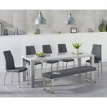 Atlanta 180cm Light Grey High Gloss Dining Table with Cavello Chairs and Atlanta Grey Bench