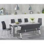 Atlanta 180cm Light Grey High Gloss Dining Table with Cavello Chairs and Malaga Grey Bench