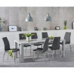 Atlanta 180cm Light Grey High Gloss Dining Table with Cavello Chairs