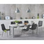 Atlanta 180cm Light Grey High Gloss Dining Table with Helsinki Faux Leather Chairs