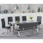 Atlanta 180cm Light Grey High Gloss Dining Table with Malaga Chairs and Malaga Grey Bench