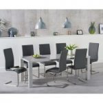 Atlanta 180cm Light Grey High Gloss Dining Table with Malaga Chairs