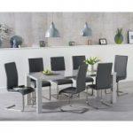 Atlanta 180cm Light Grey High Gloss Dining Table with Malaga Chairs