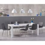 Atlanta 180cm White High Gloss Dining Table with Helsinki Faux Leather Chairs