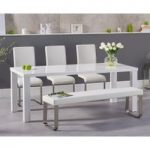 Atlanta 200cm White High Gloss Dining Table with Malaga Chairs and Atlanta Large White Bench