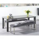 Atlanta 200cm Dark Grey High Gloss Dining Table with Atlanta Benches