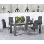 Atlanta 200cm Dark Grey High Gloss Dining Table with Calgary Chairs