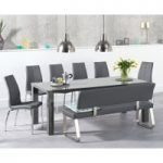 Atlanta 200cm Dark Grey High Gloss Dining Table with Cavello Chairs and Malaga Large Grey Bench