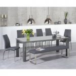 Atlanta 200cm Dark Grey High Gloss Dining Table with Cavello Chairs and Atlanta Large Grey Bench