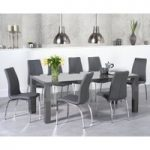 Atlanta 200cm Dark Grey High Gloss Dining Table with Cavello Chairs