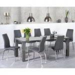 Atlanta 200cm Dark Grey High Gloss Dining Table with Cavello Chairs