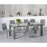 Atlanta 200cm Dark Grey High Gloss Dining Table with Helsinki Fabric Chairs