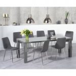 Atlanta 200cm Dark Grey High Gloss Dining Table with Helsinki Faux Leather Chairs