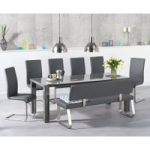 Atlanta 200cm Dark Grey High Gloss Dining Table with Malaga Chairs and Malaga Large Grey Bench