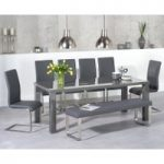 Atlanta 200cm Dark Grey High Gloss Dining Table with Malaga Chairs and Atlanta Large Grey Bench