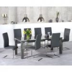 Atlanta 200cm Dark Grey High Gloss Dining Table with Malaga Chairs