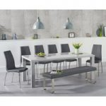 Atlanta 200cm Light Grey High Gloss Dining Table with Cavello Chairs and Atlanta Large Grey Bench