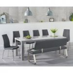 Atlanta 200cm Light Grey High Gloss Dining Table with Cavello Chairs and Malaga Large Grey Bench