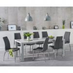 Atlanta 200cm Light Grey High Gloss Dining Table with Cavello Chairs