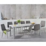 Atlanta 200cm Light Grey High Gloss Dining Table with Helsinki Fabric Chrome Chairs
