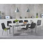 Atlanta 200cm Light Grey High Gloss Dining Table with Helsinki Faux Leather Chairs