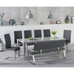 Atlanta 200cm Light Grey High Gloss Dining Table with Malaga Chairs and Malaga Large Grey Bench