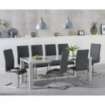 Atlanta 200cm Light Grey High Gloss Dining Table with Malaga Chairs