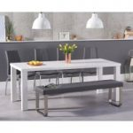 Atlanta 200cm White High Gloss Dining Table with Cavello Chairs and Atlanta Large Grey Bench