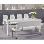 Atlanta 200cm White High Gloss Dining Table with Cavello Chairs and Malaga Large White Bench