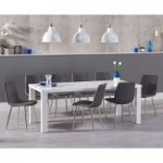 Atlanta 200cm White High Gloss Dining Table with Helsinki Fabric Chrome Chairs