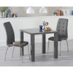 Atlanta 80cm Dark Grey High Gloss Dining Table with Calgary Chairs