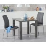 Atlanta 80cm Dark Grey High Gloss Dining Table with Cavello Chairs