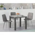 Atlanta 80cm Dark Grey High Gloss Dining Table with Helsinki Fabric and Chrome Leg Chairs