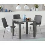 Atlanta 80cm Dark Grey High Gloss Dining Table with Helsinki Faux Leather and Chrome Leg Chairs