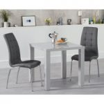 Atlanta 80cm Light Grey High Gloss Dining Table with Calgary Chairs