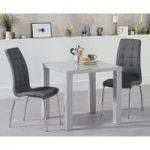 Atlanta 80cm Light Grey High Gloss Dining Table with Calgary Chairs