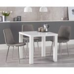 Atlanta 80cm White High Gloss Dining Table with Helsinki Fabric Chrome Chairs