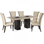 Brittoli 220cm Marble-Effect Dining Table with Alpine Leather Chairs