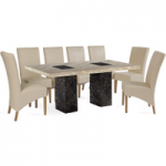 Brittoli 220cm Marble-Effect Dining Table with Cannes Chairs