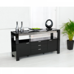 Cannes 160cm High Gloss Black Sideboard
