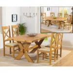 Bordeaux 165cm Oak All Sides Extending Table with Cheshire Chairs