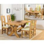 Bordeaux 165cm Oak All Sides Extending Table with Louis Chairs